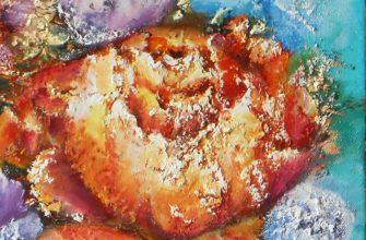 Современная фактурная картина с цветами на холсте