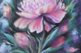 Интерьерная картина Пион пастелью