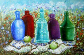 Натюрморт с бутылками маслом на холсте