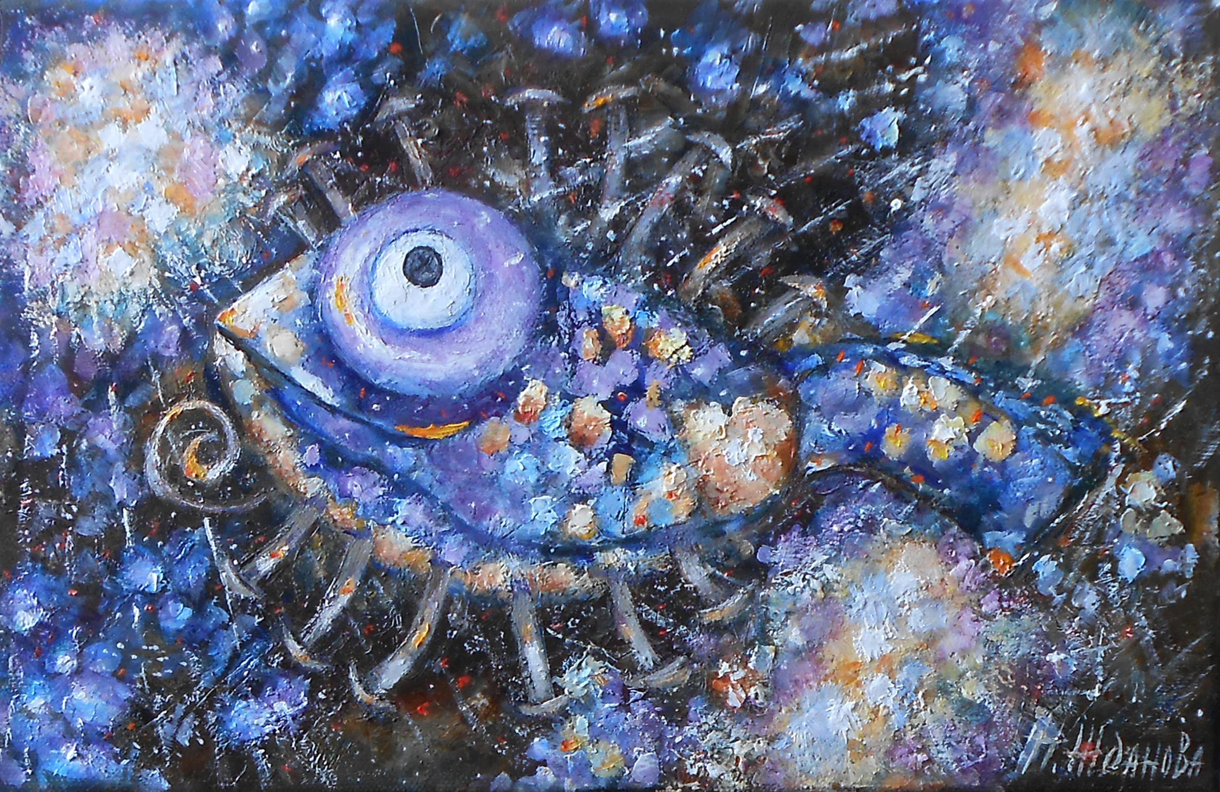 Картина маслом рыба современная живопись