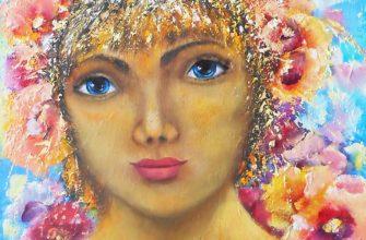картина девушка с цветами на голове