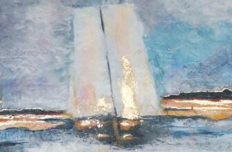 Картина парусник в море