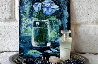 Голубая роза маленькая картина маслом мастихином