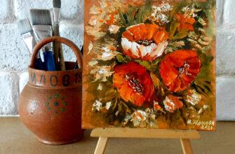 Картина маков маслом натюрморт цветы мастихином