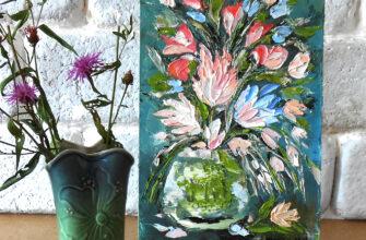 Маленькая картина маслом полевые цветы в вазе