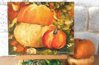 аленькие картины маслом Oсенний натюрморт тыква и яблоко