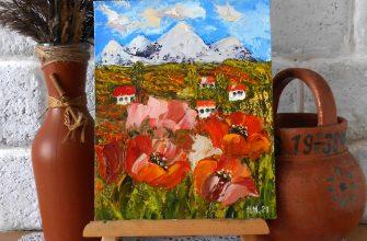 Картина поле маков мастихином летний пейзаж с домиками