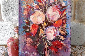 Маленькая картина миниатюра цветы мастихином